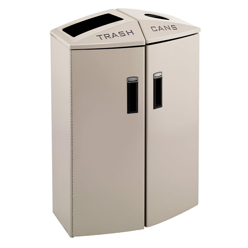 Rubbermaid 3486045 24-gal Multiple Material Recycle Bin - Indoor, Multiple Sections & Decorative