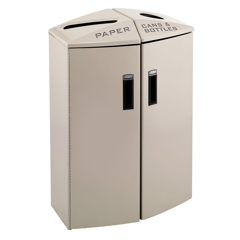 Rubbermaid 3486046 24-gal Multiple Material Recycle Bin - Indoor, Multiple Sections & Decorative