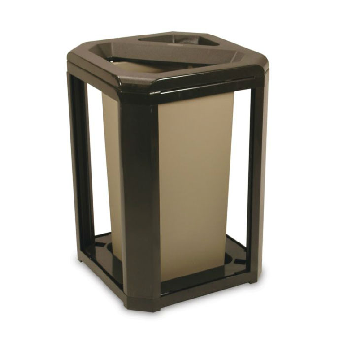 "Rubbermaid FG396600 SBLE 20-gal Landmark Series Container - 21x21x30-1/2"" Ash/Trash Frame, Sable"