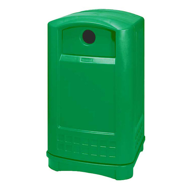 "Rubbermaid FG396800DGRN Plaza Bottle/Can Recycling Container - 24-3/4x22-1/4x42-1/8"" Dark Green"