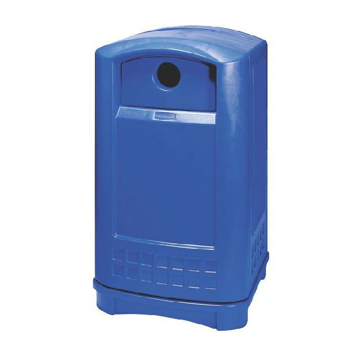 "Rubbermaid FG396873 BLUE Plaza Bottle/Can Recycling Container - 24-3/4x22-1/4x42-1/8"" Blue"