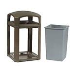 "Rubbermaid FG397000 SBLE 35-gal Landmark Series Container - 26x26x40"" Dome Top Frame, Sable"