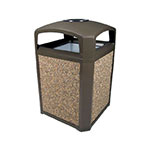 "Rubbermaid FG397001 SBLE 35-gal Landmark Series Container - 26x26x40"" Dome Top Frame, Ashtray, Sable"