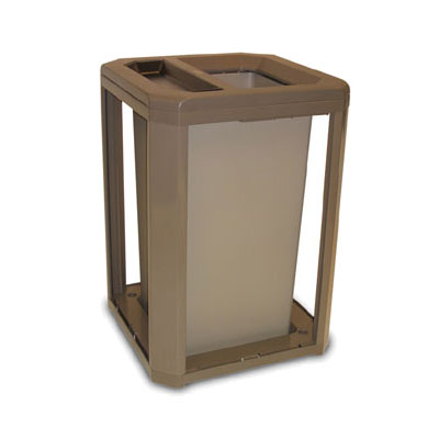"Rubbermaid FG397100 SBLE 35-gal Landmark Series Container - 26x26x30-1/2"" Ash/Trash Frame, Sable"