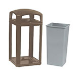 """Rubbermaid FG397500 SBLE 50-gal Landmark Series Container - 26x26x46-1/2"""" Dome Top Frame, Sable"""