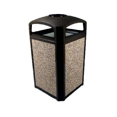 "Rubbermaid FG397501 BLA 50-gal Landmark Series Container - 26x26x46-1/2"" Dome Top Frame, Ashtray, Black"