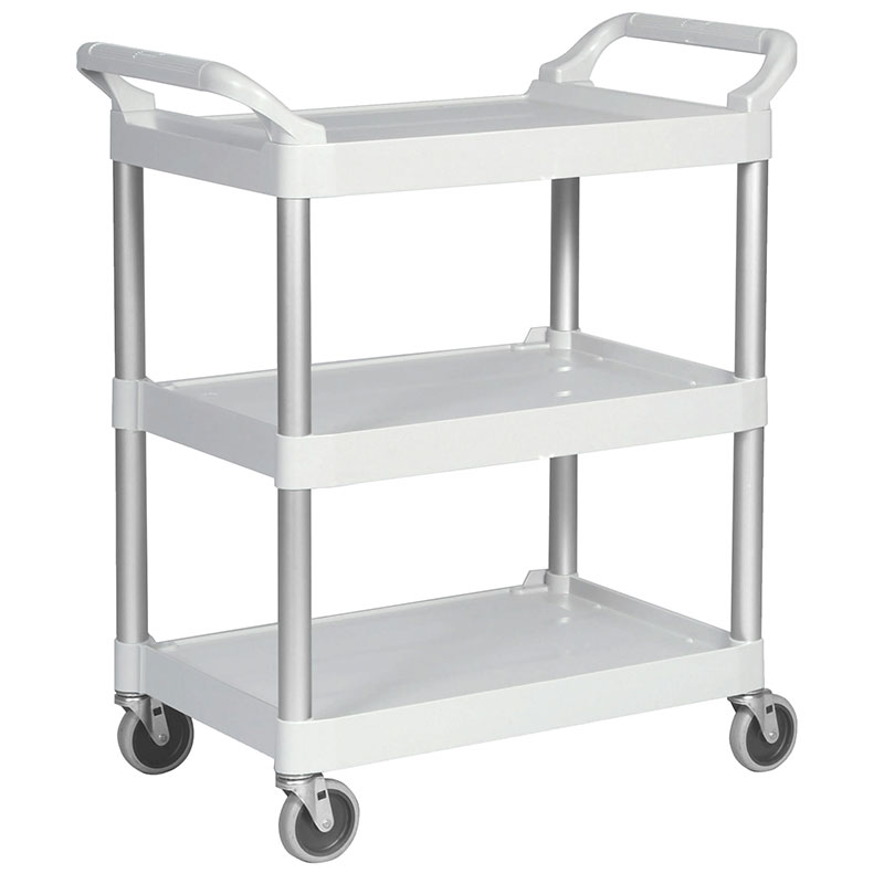 Rubbermaid FG409100OWHT 3-Level Polymer Utility Cart w/ 300-lb Capacity, Raised Ledges