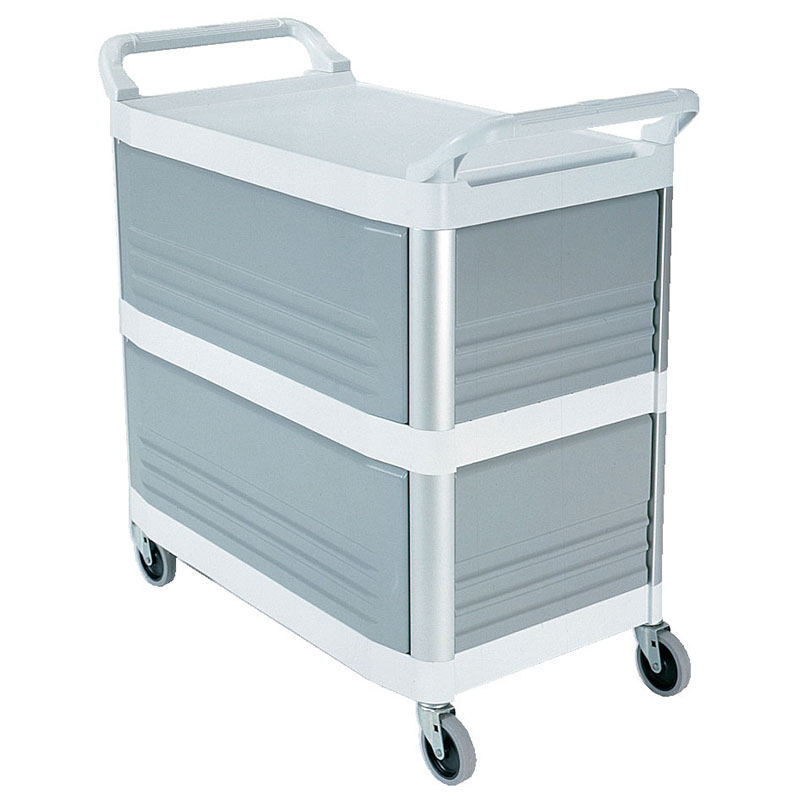"Rubbermaid FG409300OWHT 40.625""L Polymer Bus Cart w/ (3) Levels, Shelves, White"