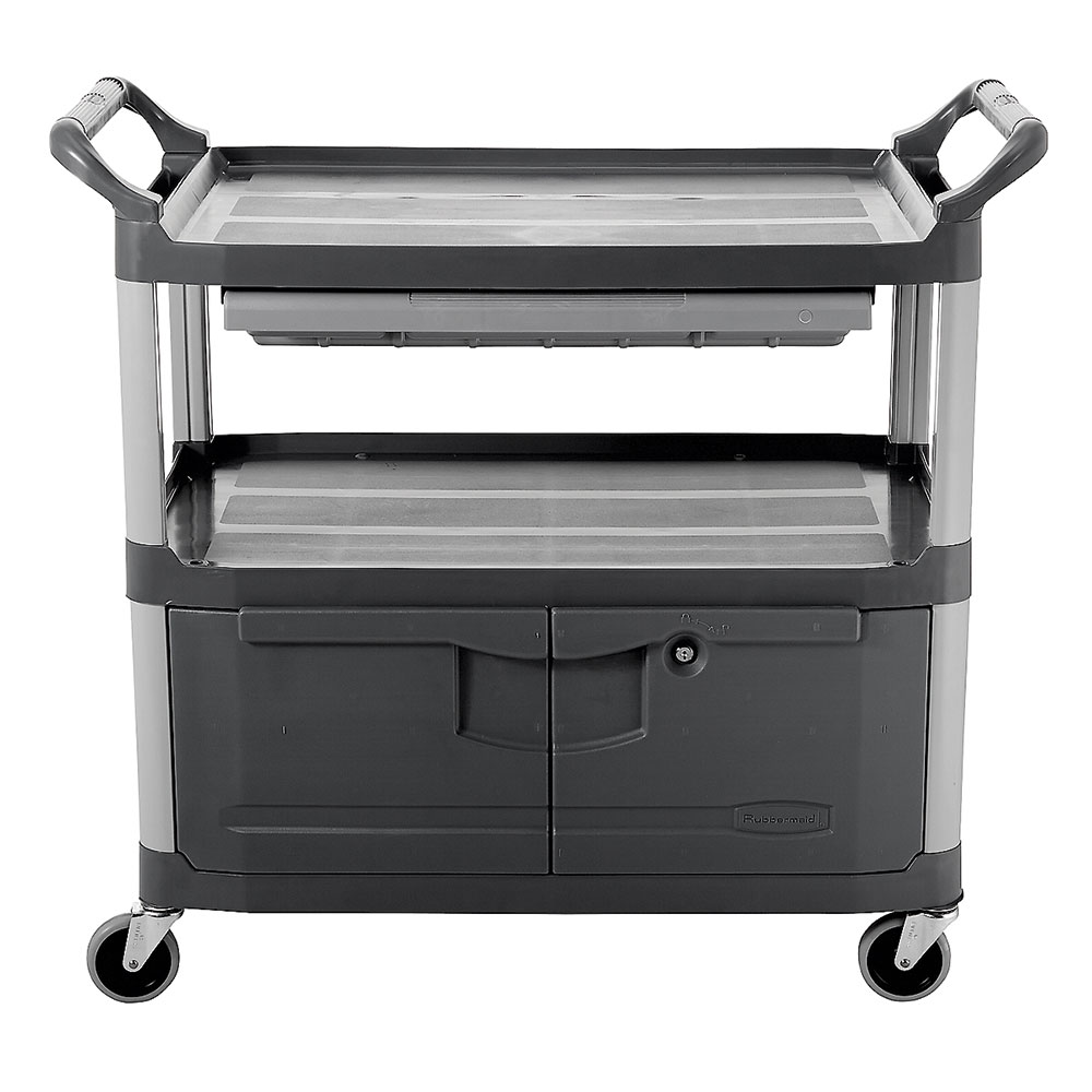 Rubbermaid FG409400 GRAY 3-Level Polymer Utility Cart w/ 300-lb Capacity, Raised Ledges