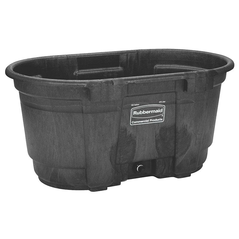 Rubbermaid FG424288 BLA 100-gal Stock Tank - Structural Foam, Black