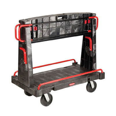 "Rubbermaid FG446500BLA A-Frame Panel Truck - 24x56"" 2000-lb Capacity, 8"" Castors, Black"