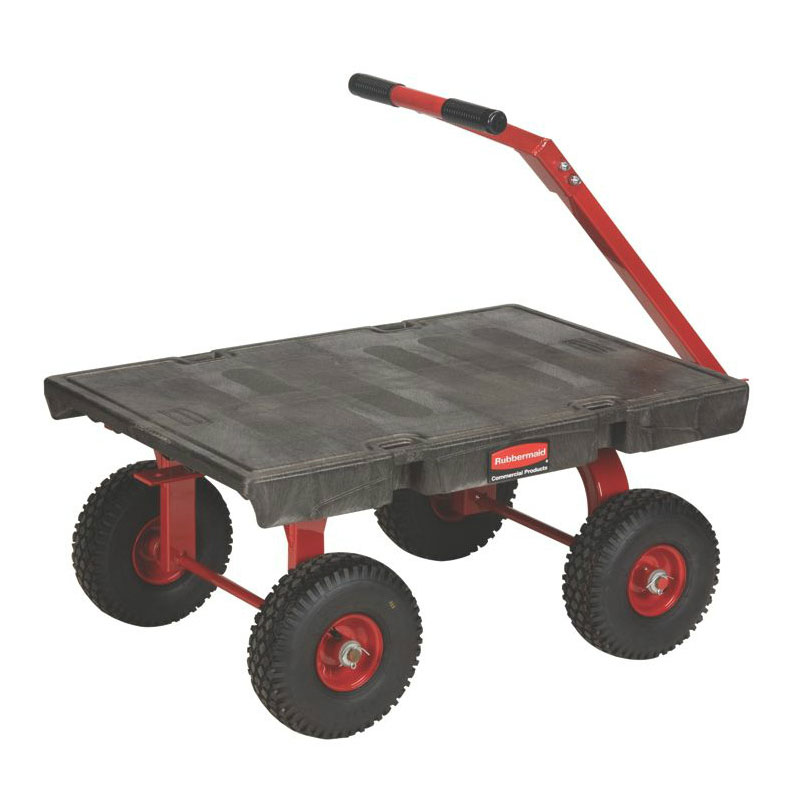"Rubbermaid FG447500BLA 5th Wheel Wagon Truck - 24x36"" 1200-lb Capacity, 10"" Casters/Wheels, Black"