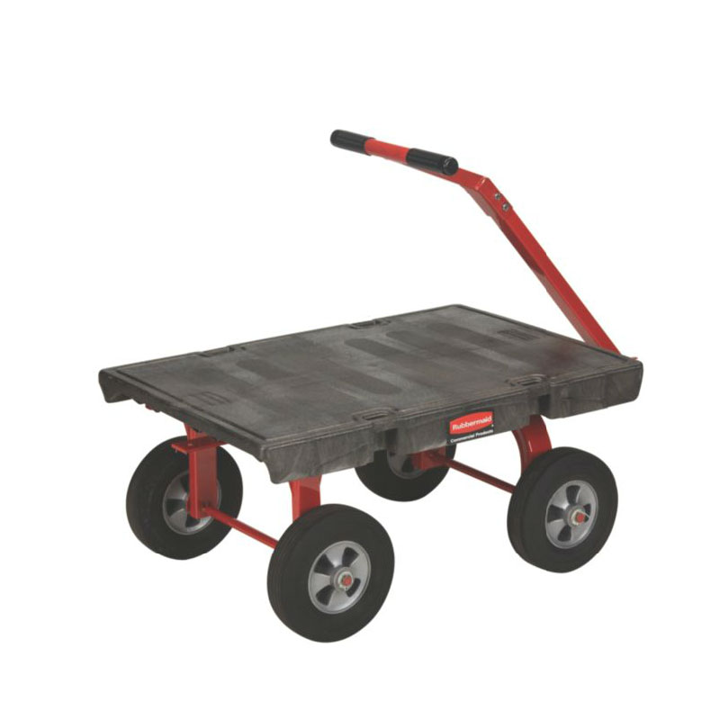 "Rubbermaid FG447600BLA 5th Wheel Wagon Truck - 24x36"" 1200-lb Capacity, 10"" TPR Casters/Wheels, Black"