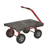 "Rubbermaid FG447800BLA 5th Wheel Wagon Truck - 24x48"" 2000-lb Capacity, 12"" TPR Castors/Wheels, Black"