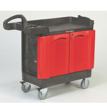Rubbermaid FG451288 BLA 1-Level Polymer Utility Cart w/ 500-lb Capacity, Raised Ledges