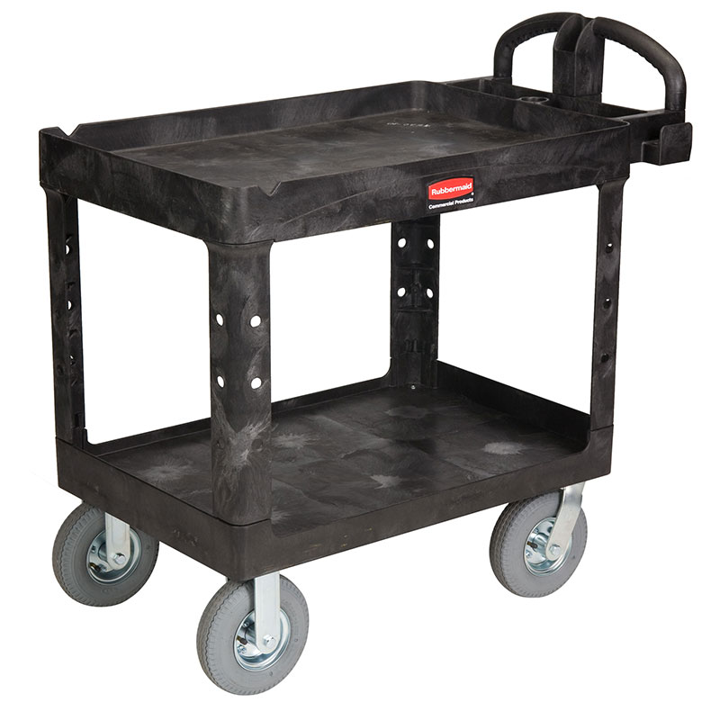 Rubbermaid FG452010 BLA 2-Level Polymer Utility Cart w/ 500-lb Capacity, Raised Ledges