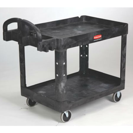 "Rubbermaid FG452500 BLA Flat Shelf Utility Cart - 2-Shelf, 500-lb Capacity, 5"" TPR, Black"
