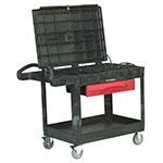 Rubbermaid FG453588 BLA 2-Level Polymer Utility Cart w/ 500-lb Capacity, Flat Ledges