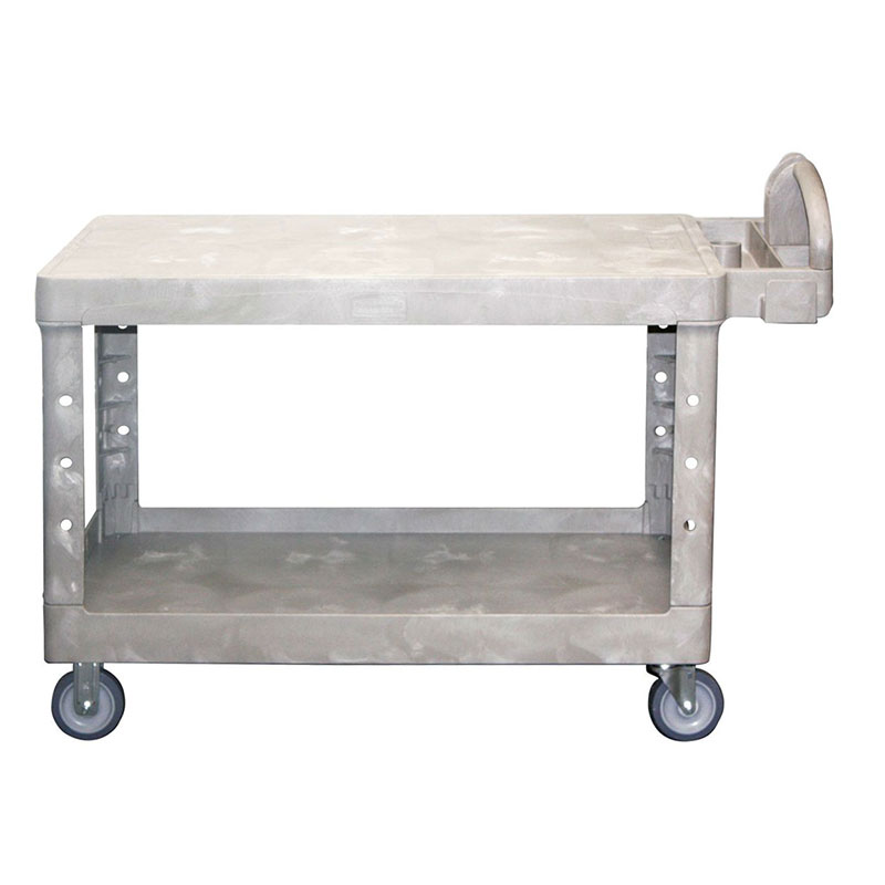 "Rubbermaid FG454500BEIG Heavy Duty Flat Shelf Cart - 700-lb Capacity, 5"" TPR Castors, Beige"