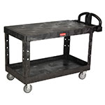 Rubbermaid FG454500BLA 2-Level Polymer Utility Cart w/ 750-lb Capacity, Flat Ledges