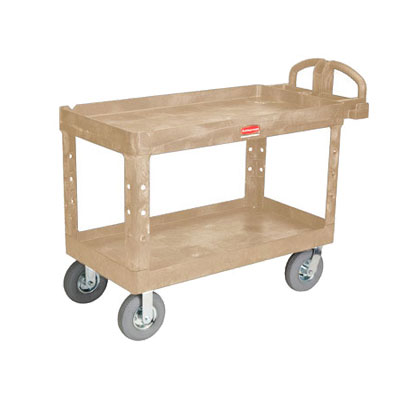 Rubbermaid FG454600BEIG 2-Level Polymer Utility Cart w/ 750-lb Capacity, Raised Ledges