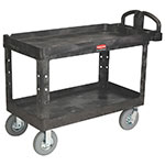 Rubbermaid FG454610 BLA 2-Level Polymer Utility Cart w/ 750-lb Capacity, Raised Ledges