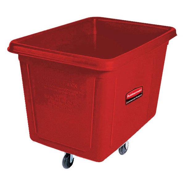 Rubbermaid FG460800RED Cube Truck - 8 cu ft, 300-lb Capacity, Red