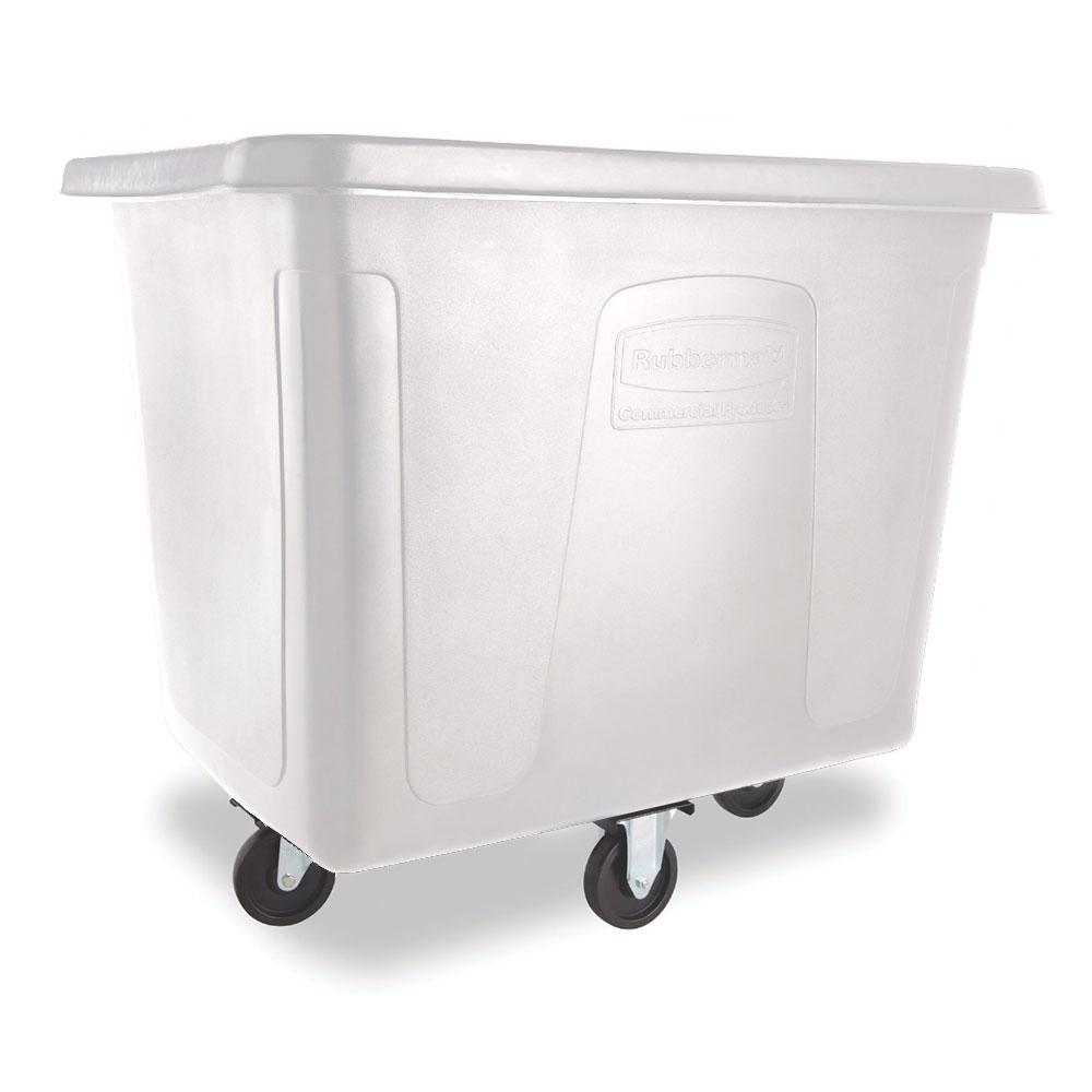 Rubbermaid FG461600 WHT .6-cu yd Trash Cart w/ 500-lb Capacity, White
