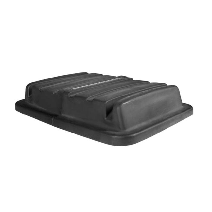 Rubbermaid FG461700 BLA Rectangle Dome Utility Truck Lid - Plastic, Black