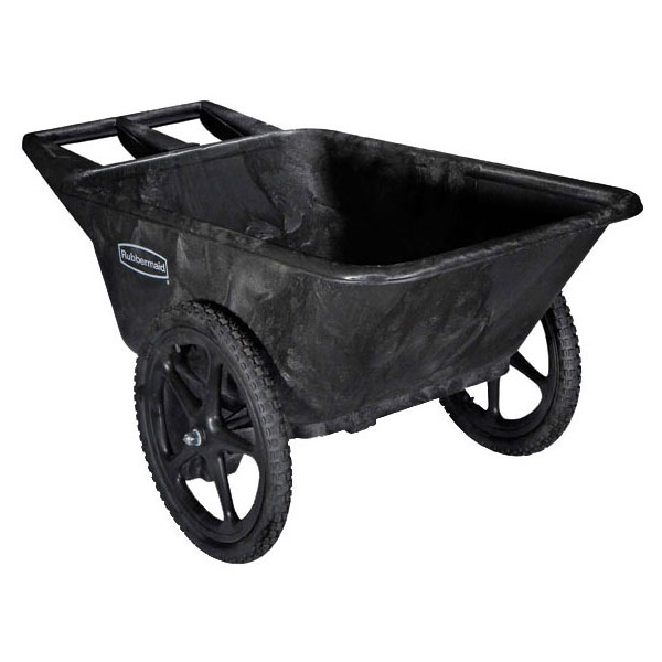 "Rubbermaid FG564261 BLA Big Wheel Cart - 7-1/2 cu ft Capacity, 28-1/4x58x32-3/4"" Black"