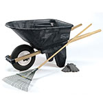 Rubbermaid FG565861 BLA Contractor Wheelbarrow - 6-1/2 cu ft Capacity, 1-Wheel, Black