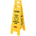 Rubbermaid FG611478 YEL Multi-Lingual Floor Closed Sign - 4-Sided, Yellow
