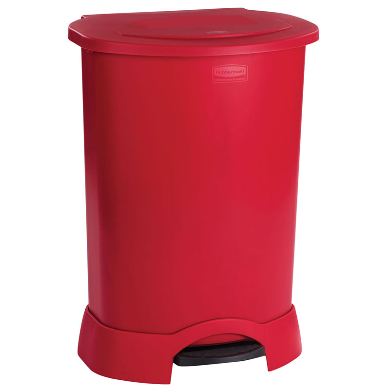 Rubbermaid FG614700 RED 30-gal Step-On Container - Heavy-Duty Pedal, Red