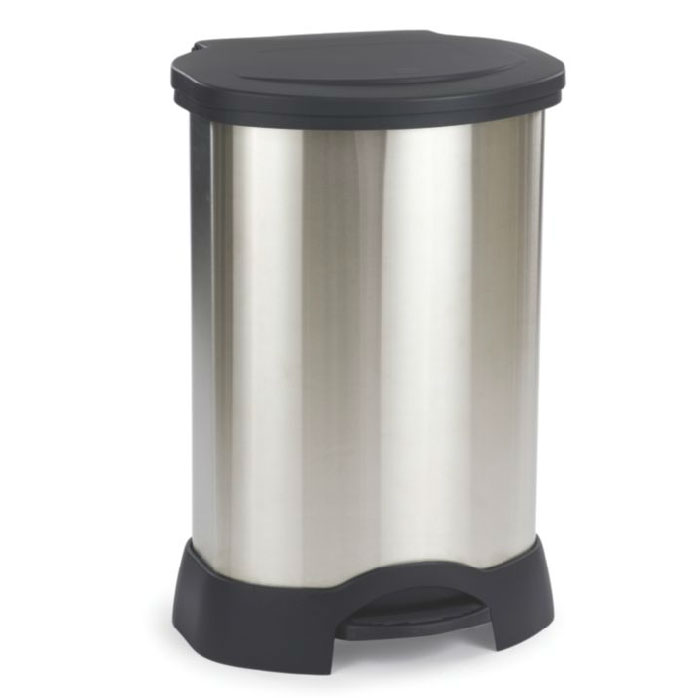 Rubbermaid FG614787 BLA 30-gal Step-On Container - Heavy-Duty Pedal, Stainless w/ Black Lid