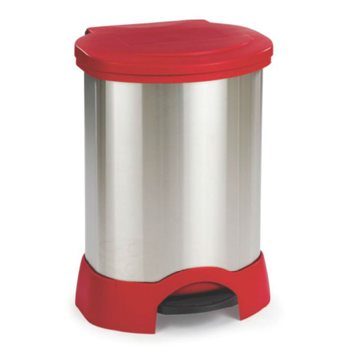 Rubbermaid FG614787 RED 30-gal Step-On Container - Heavy-Duty Pedal, Red/Stainless