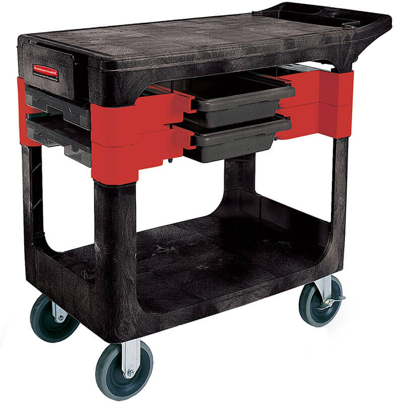 Rubbermaid FG618000 BLA 2-Level Polymer Utility Cart w/ 330-lb Capacity, Flat Ledges