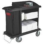 "Rubbermaid FG619000 BLA Compact Housekeeping Cart w/ Vacuum Holder, 49""L x 22""W x 50""H, Black"