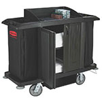 Rubbermaid FG619100 BLA Housekeeping Cart - Doors, Black