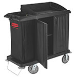 "Rubbermaid FG619200 BLA Compact Housekeeping Cart w/ Vacuum Holder, 49""L x 22""W x 50""H, Black"
