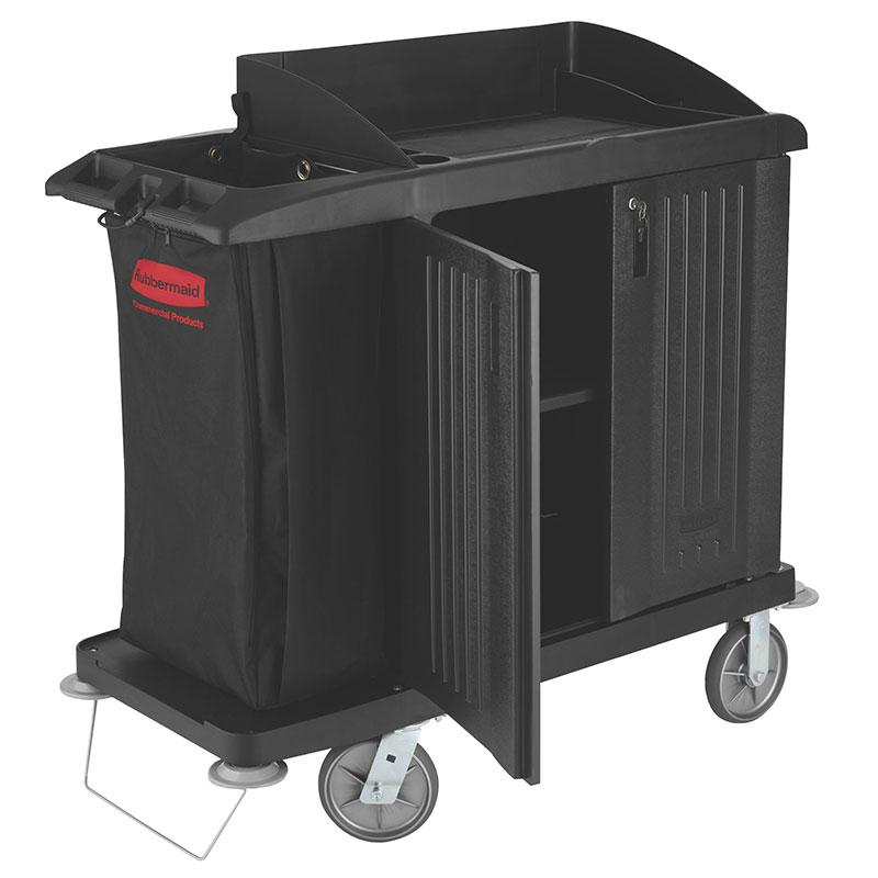 "Rubbermaid FG619200 BLA Compact Housekeeping Cart w/ Vacuum Holder, 49""L x 22""W x 50""H, Black"
