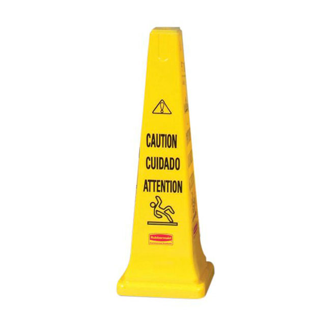 "Rubbermaid FG627600 YEL Multi-Lingual Safety Cone - Caution, 12-1/4x12-1/4x36"" Yellow"