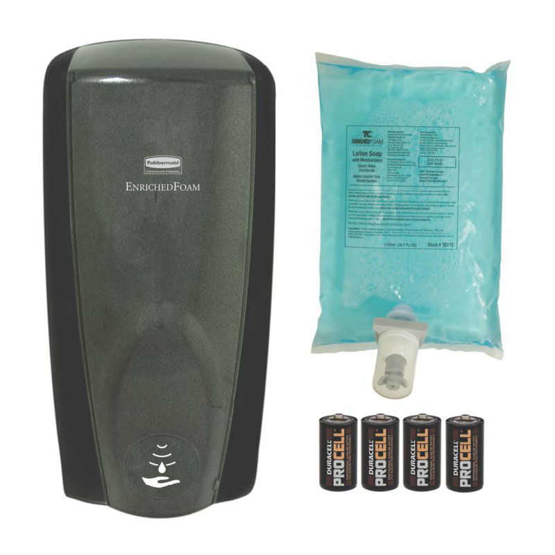 Rubbermaid FG750334 1100-ml AutoFoam Starter Kit - Black/Black Pearl