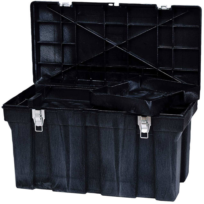 "Rubbermaid FG780400 BLA Tool Box - Removable Trays, 36x18-5/8x20-3/16"" Black"