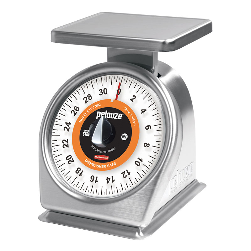Rubbermaid FG832RW Pelouze Portion Scale - Dial Type, 32-oz x 1/8-oz, Orange Lens, Stainless