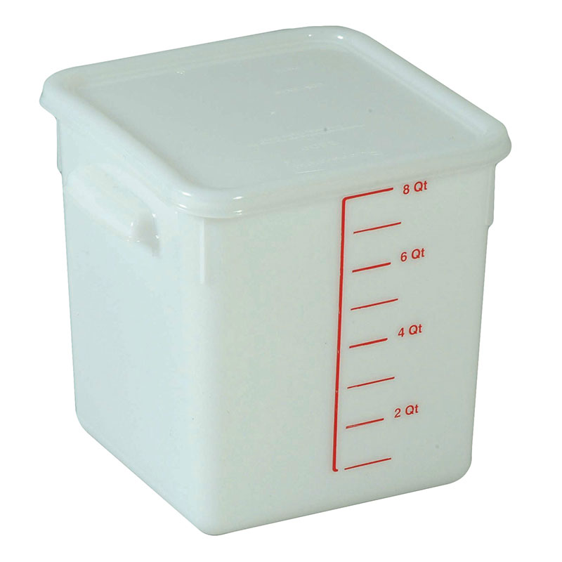 Rubbermaid FG9F0600 WHT 8-qt Square Storage Container - Poly White