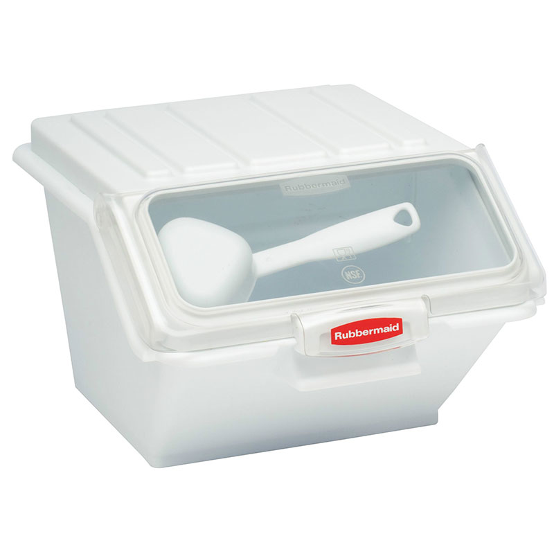 "Rubbermaid FG9G6000 WHT ProSave Safety Storage Bin with Scoop - 40-cup Capacity, 15x11.75x8.5"" White"