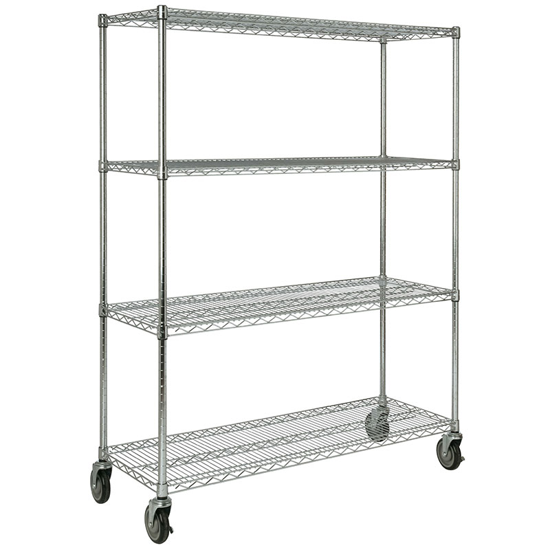 Rubbermaid FG9G8000 CHRM 4-Shelf Safety Storage Rack - 1600-cup Capacity, 18x50x67
