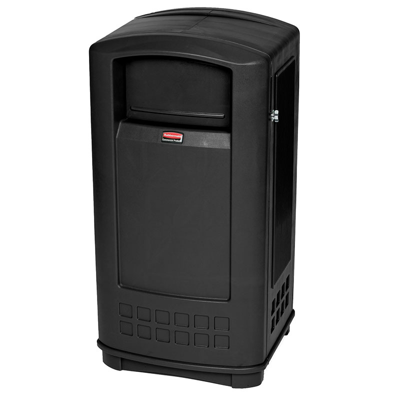 Rubbermaid FG9P9000 BLA 35-gal Plaza Jr Trash Container - Black