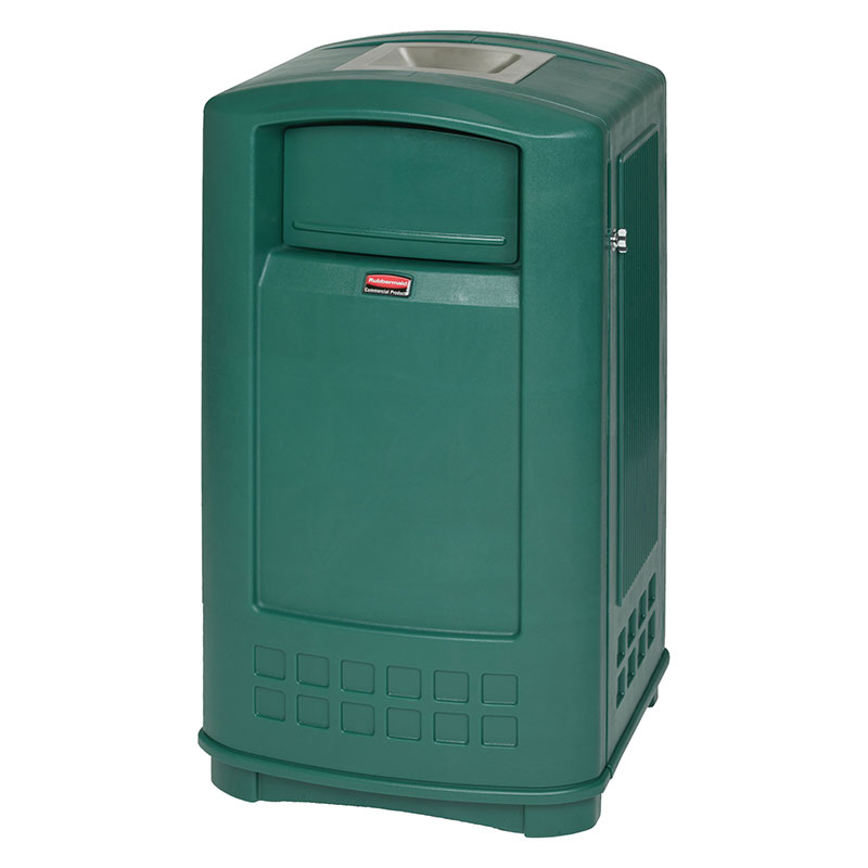 Rubbermaid FG9P9100DGRN 35-gal Plaza Jr Trash Container with Ashtray Top - Dark Green