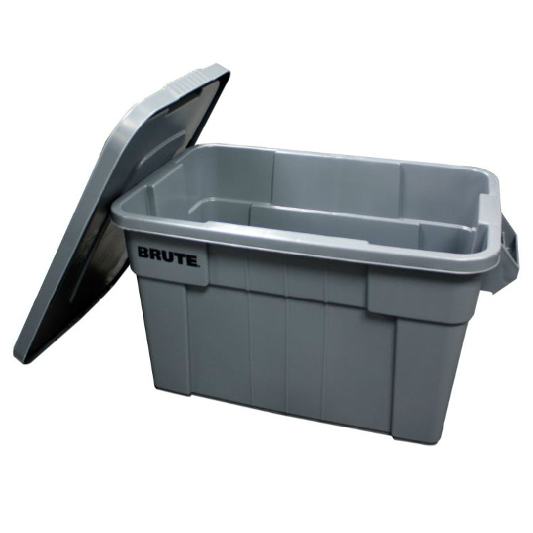 Rubbermaid FG9S3000 GRAY 14-gal BRUTE Tote with Lid - Gray